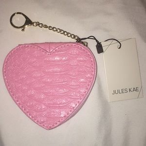 Jules kae coin purse with gold clasp baby pink